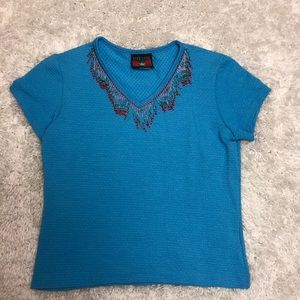 Five Star by Roper Beaded V-Neck Tee Small